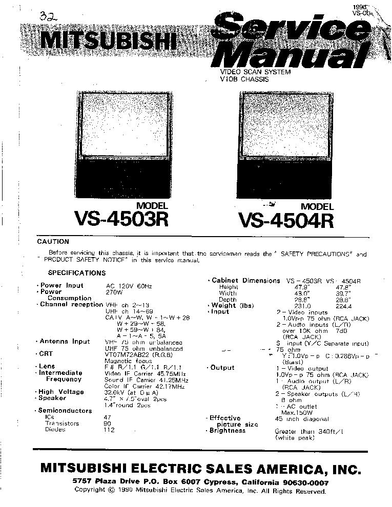 MITSUBISHI VS-4503R VS-4504R CHASSIS V10B Service Manual