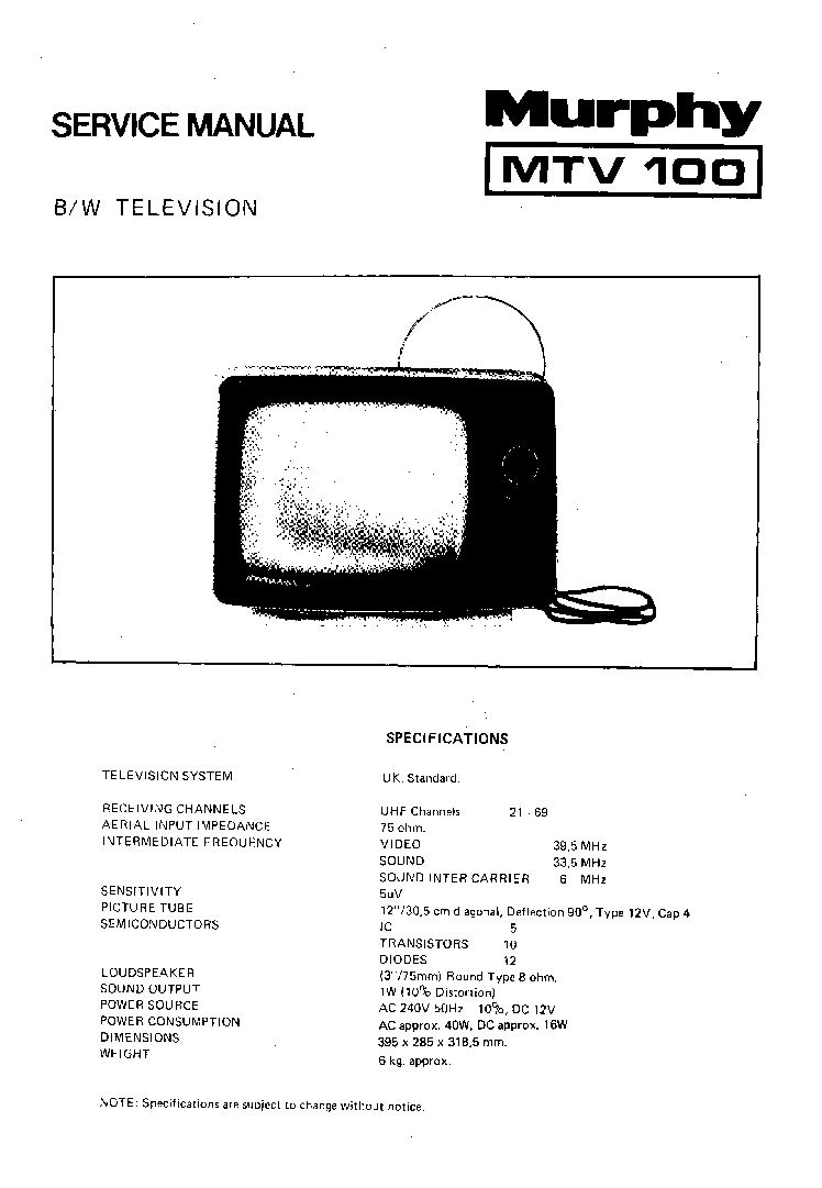MURPHY MTV-100-SANYO Service Manual download, schematics
