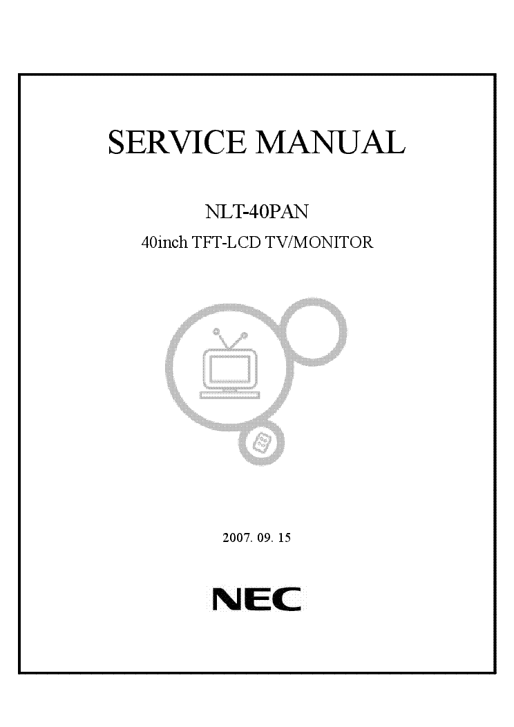 NEC NLT-40PAN MONITOR-TV Service Manual download