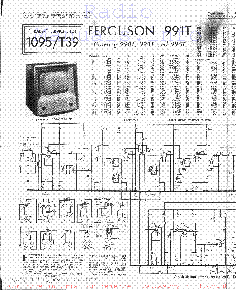 FERGUSON TX805 Service Manual download, schematics, eeprom