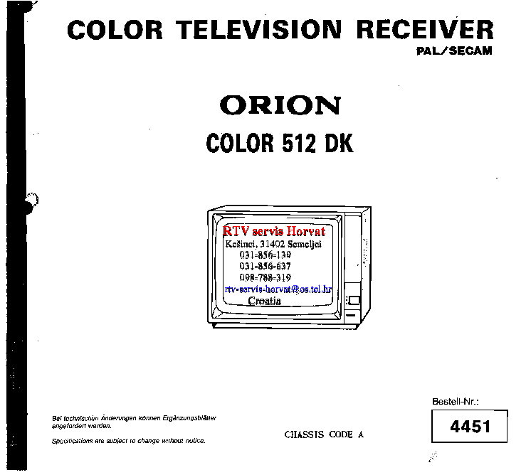 ORION COLOR 512 Service Manual free download, schematics
