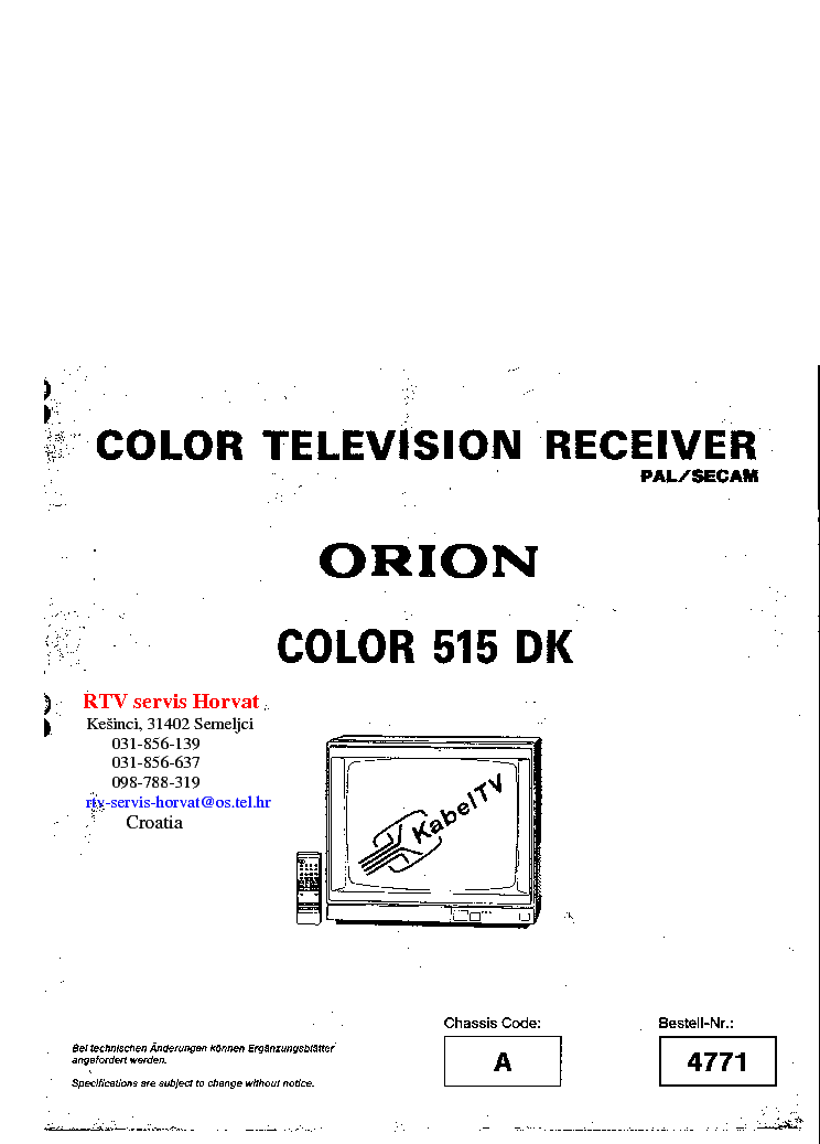 ORION COLOR 515 DK Service Manual download, schematics