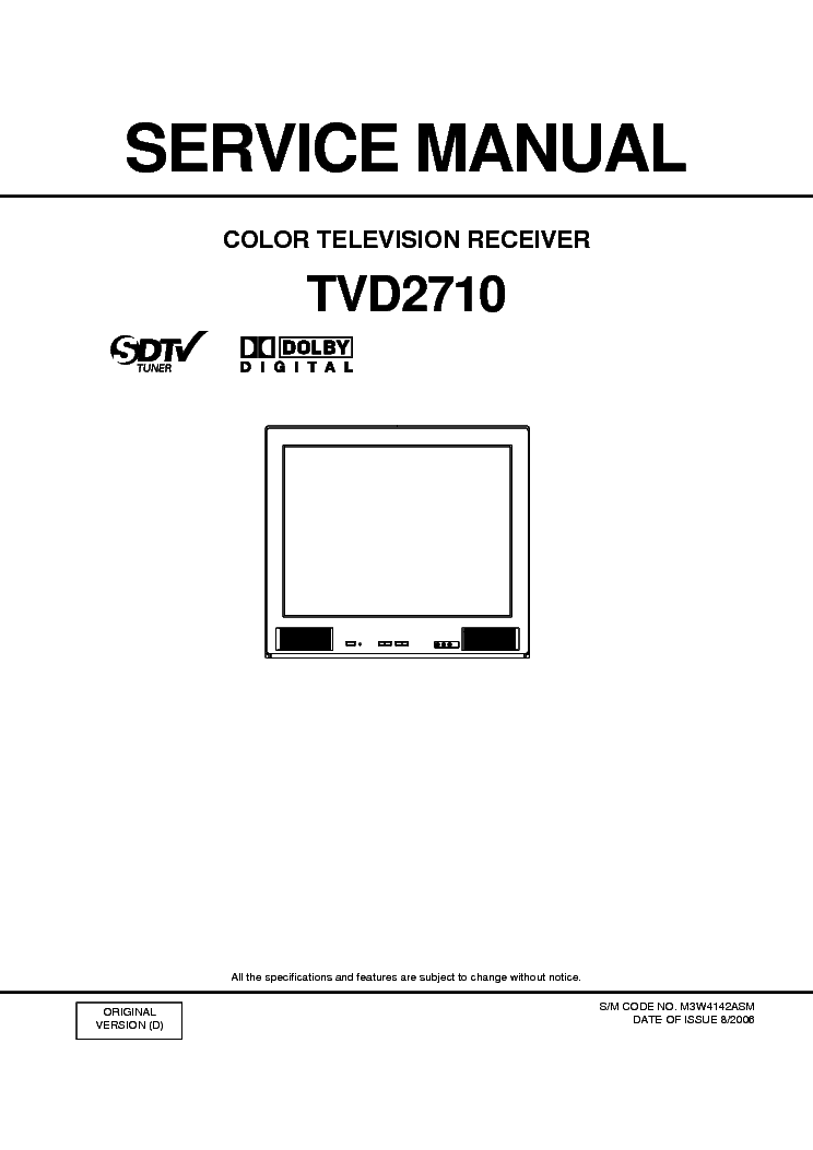 ORION TVD2710 Service Manual download, schematics, eeprom