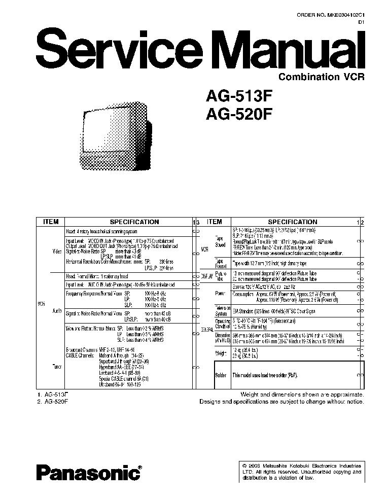 PANASONIC AG513F TV VCR Service Manual download