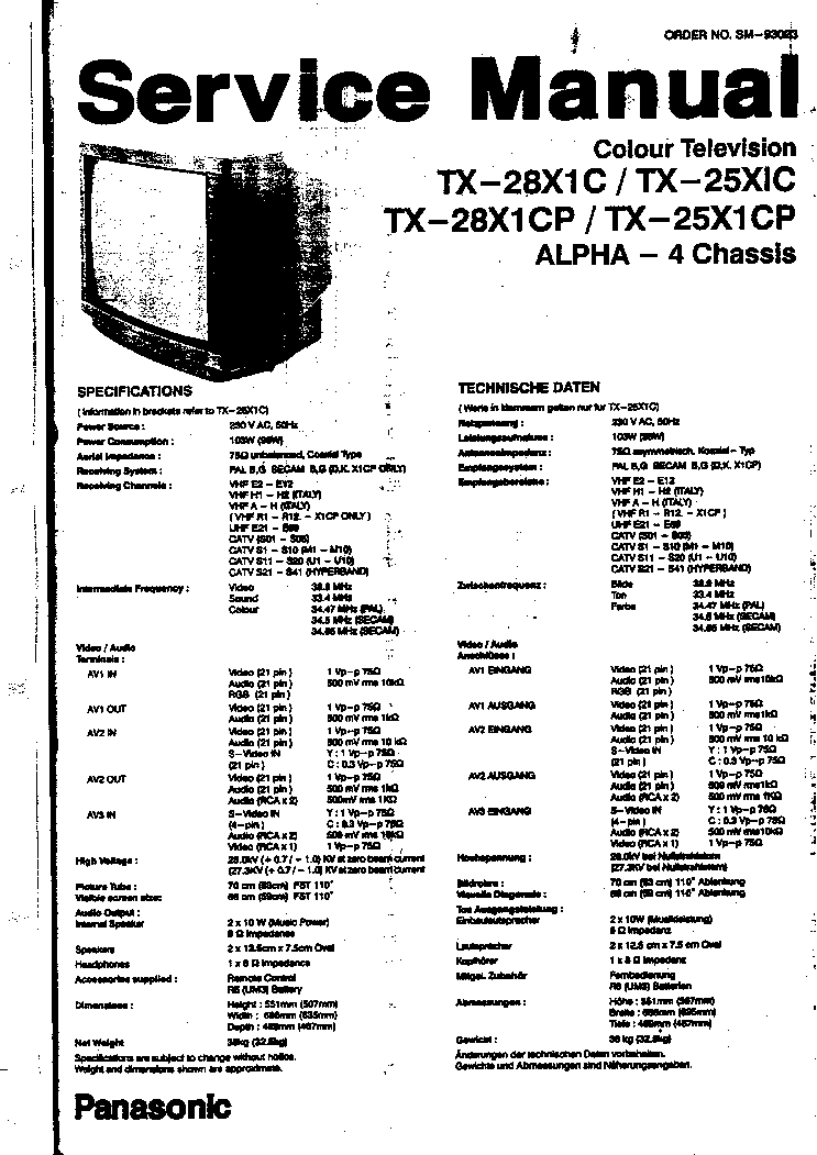 PANASONIC ALPHA4 CHASSIS TX28X1C TV SM Service Manual