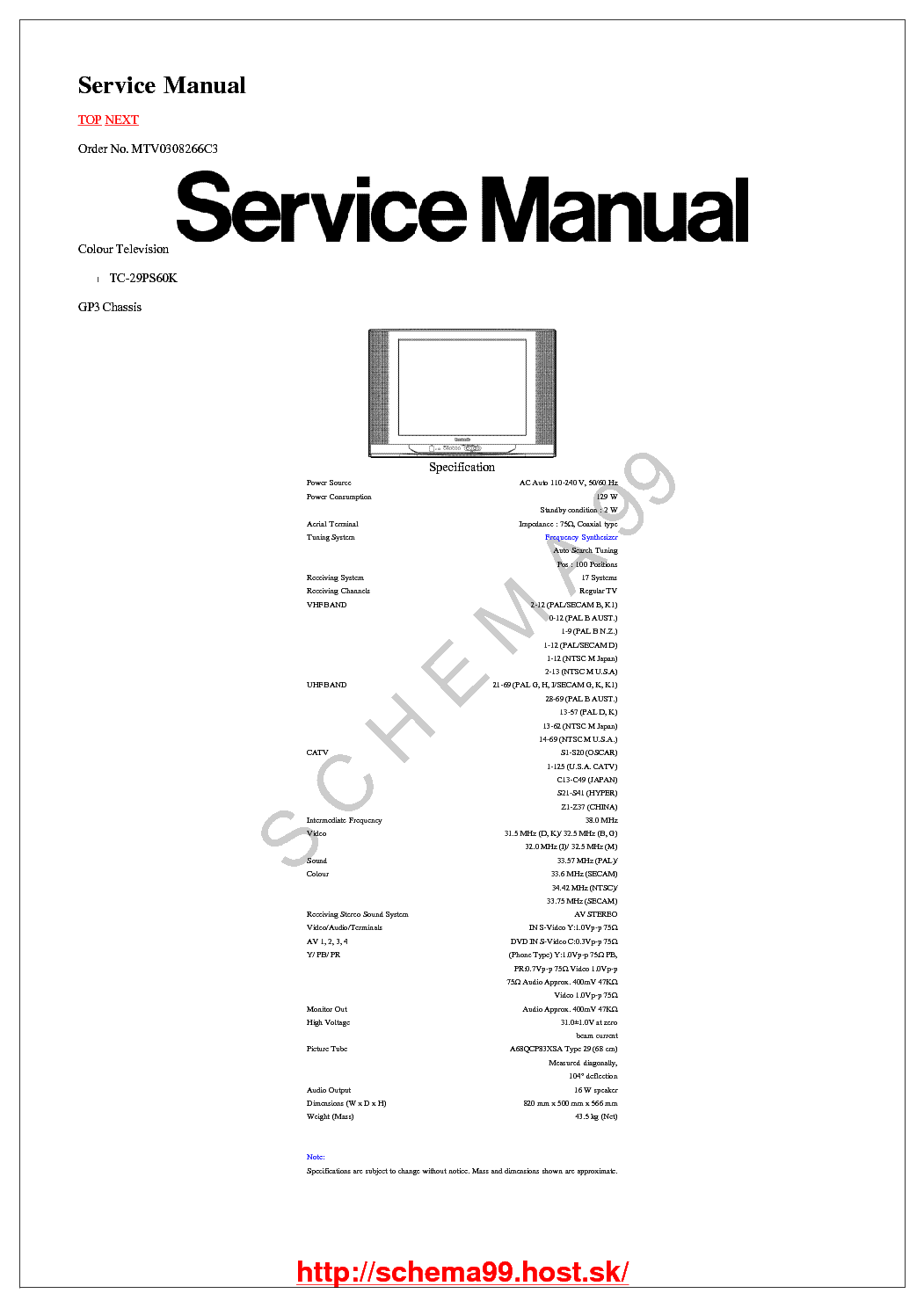 PANASONIC CH GP3 TC-29PS60K SM Service Manual download