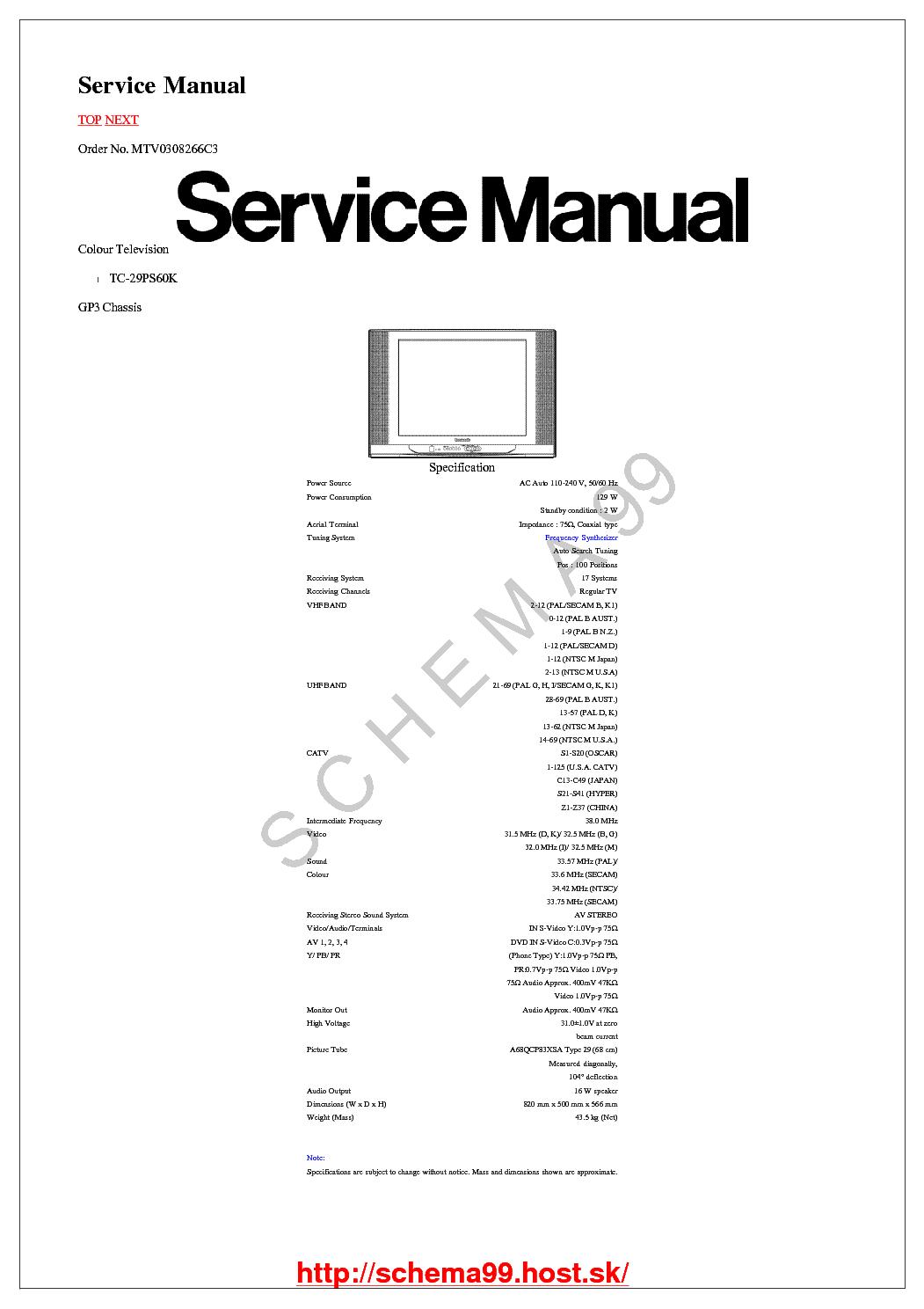 PANASONIC CH GP3 TC-29PS60K SM Service Manual download