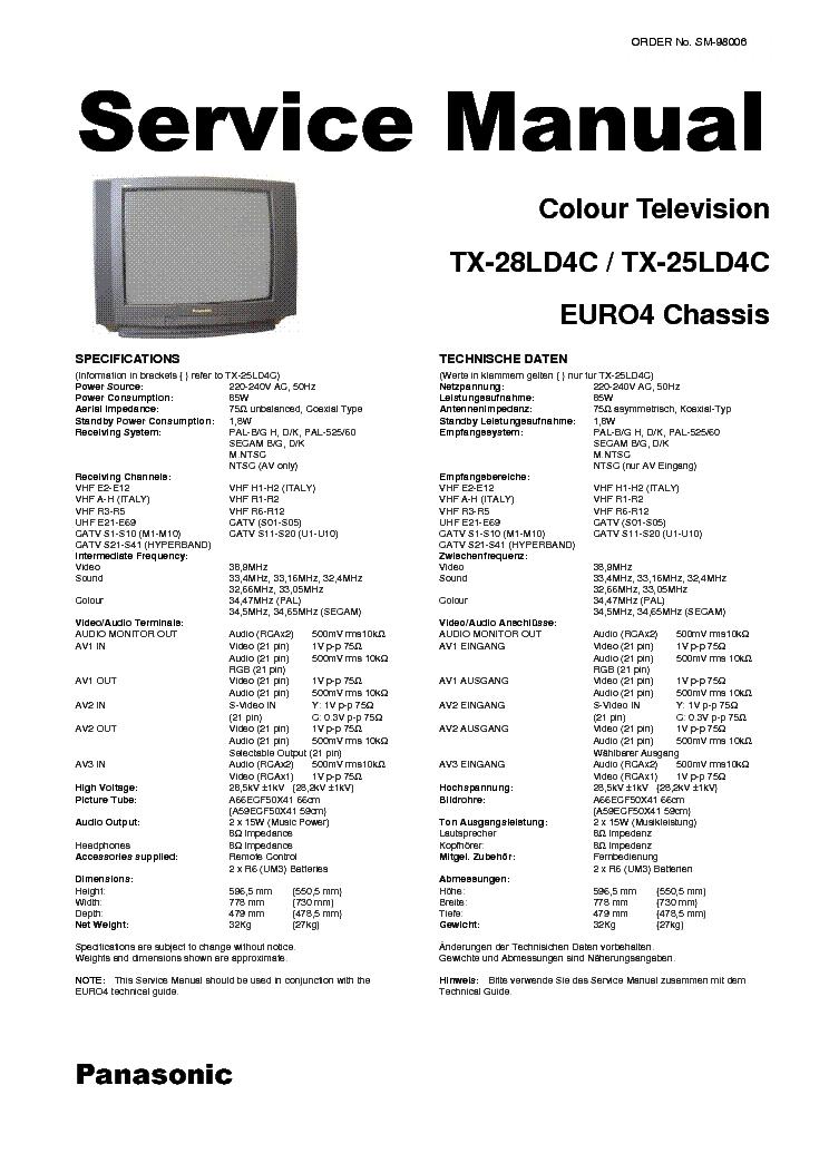 PANASONIC CHASSIS ERURO-4 TX-28LD4C TX-25LD4C SM Service