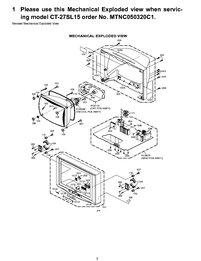 PANASONIC CT-27SL15 SUPP MECHANICAL-EXPLODED Service