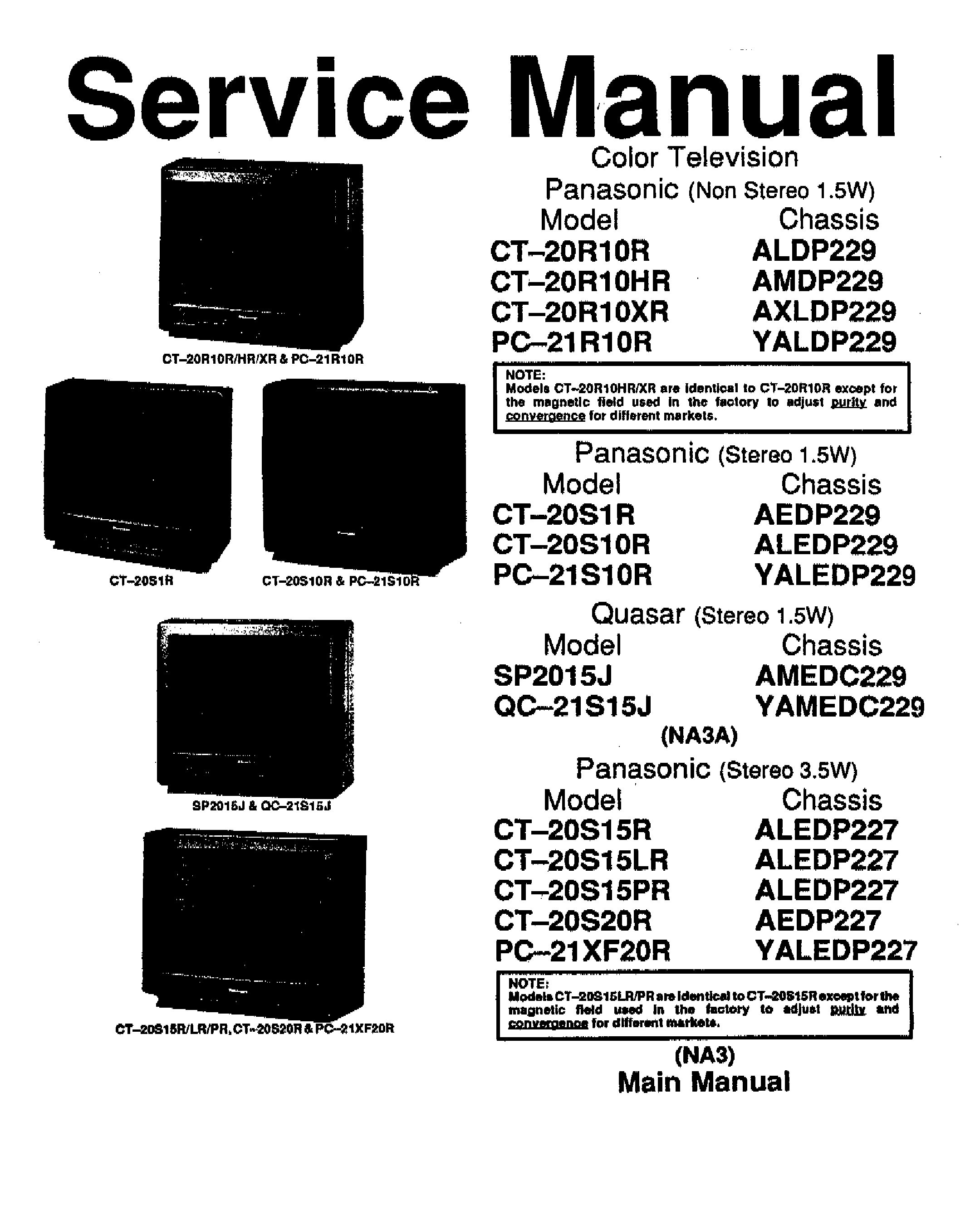 PANASONIC CT20R10 TV SM Service Manual download