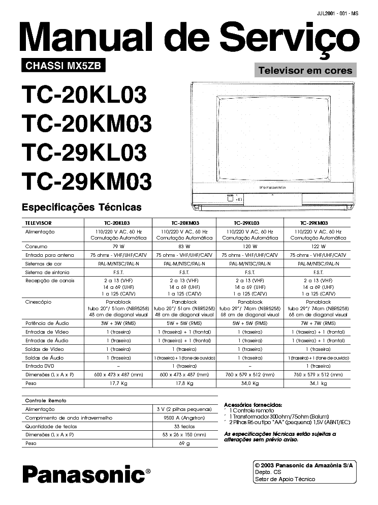 PANASONIC MX5ZB CHASSIS TC20KL03 TV SM Service Manual