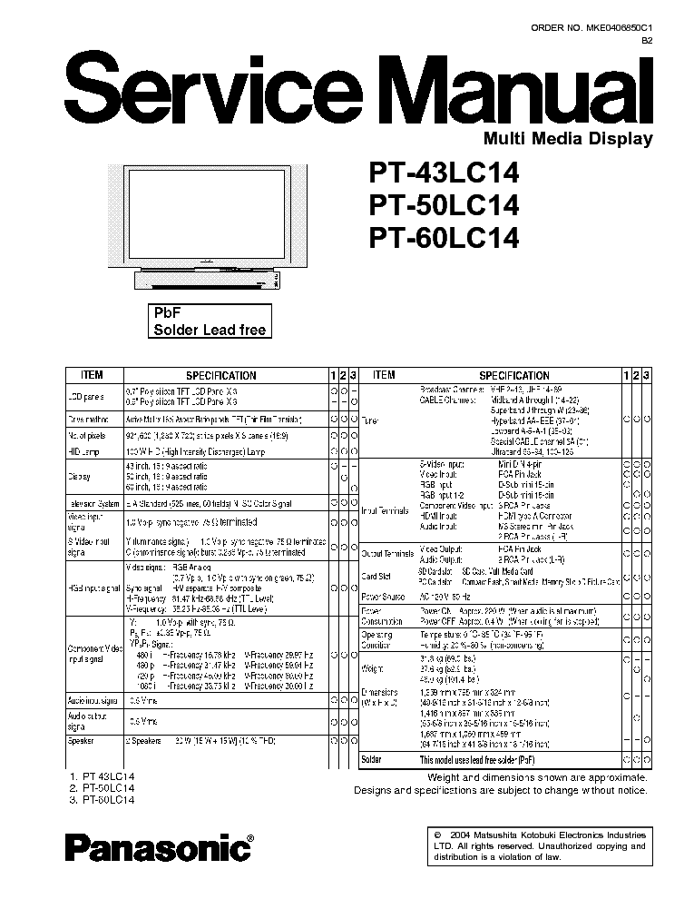PANASONIC PT43LC14 LCD SM Service Manual download