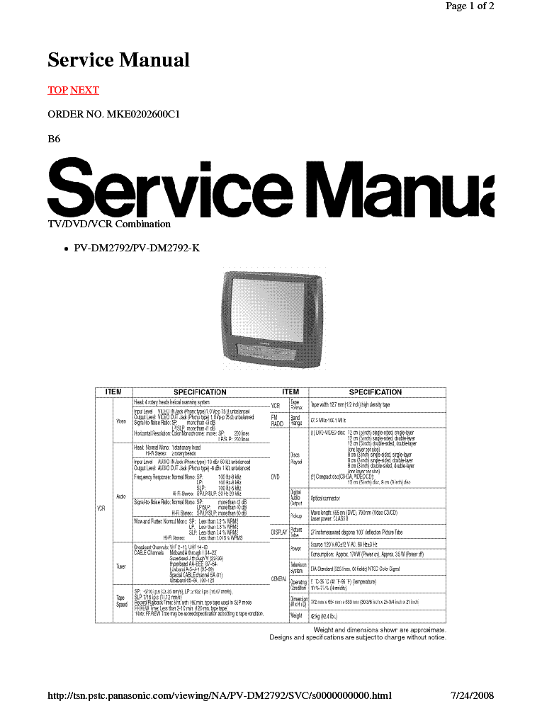 PANASONIC CP521F CHASSIS TX29PM1D TV SM Service Manual