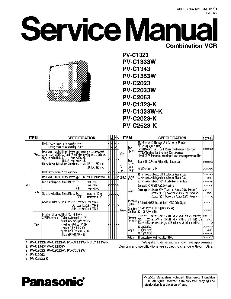 PANASONIC PVC1323 TV VCR SM Service Manual download