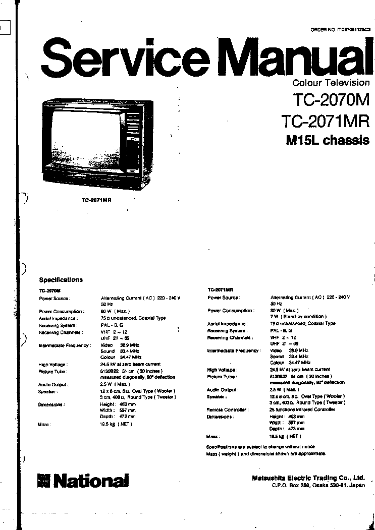 PANASONIC TC-2070,2071 CH M15L Service Manual download