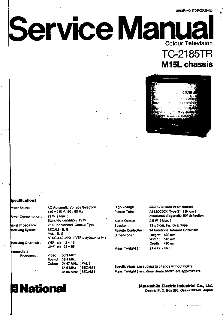 PANASONIC TC-2185TR CHASSIS-M15L Service Manual download