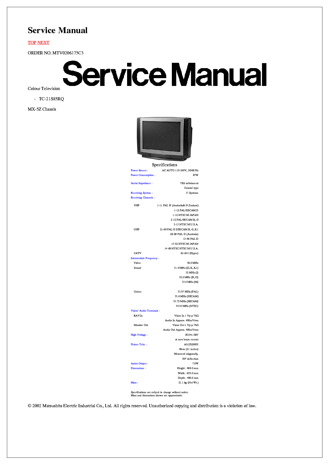 Television service manuals