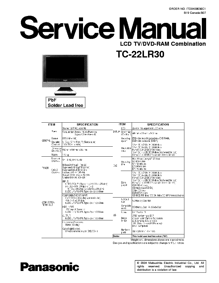 PANASONIC TC14RM10L 20RM10L CHASSIS GP31 Service Manual