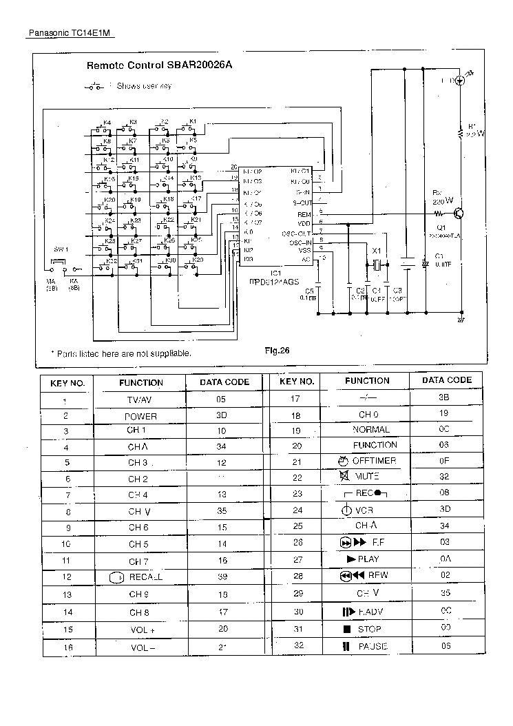 PANASONIC TC14E1M SCH Service Manual download, schematics
