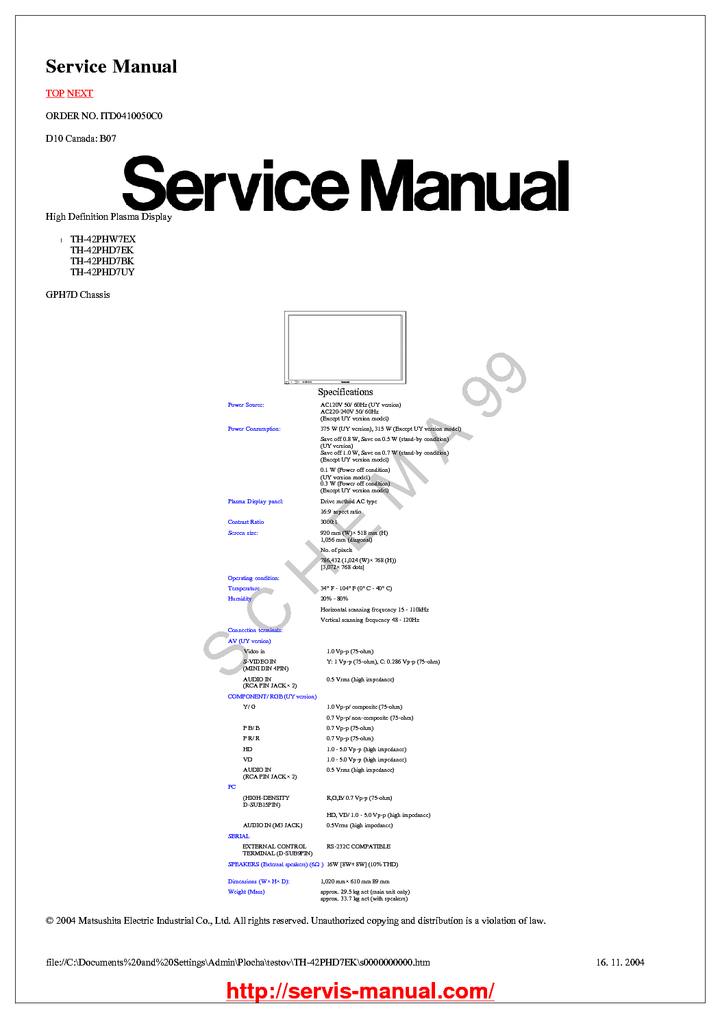PANASONIC TX-21JT2 CH Z-M3L SM Service Manual download