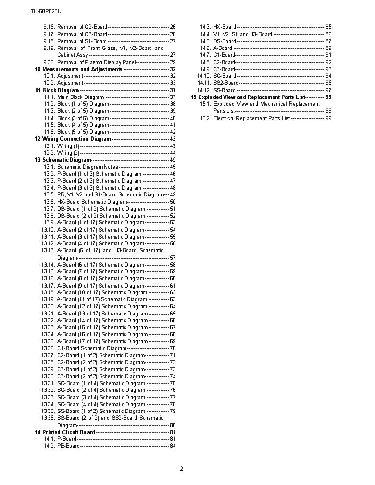 PANASONIC TH-50PF20U CHASSIS GPF13D Service Manual