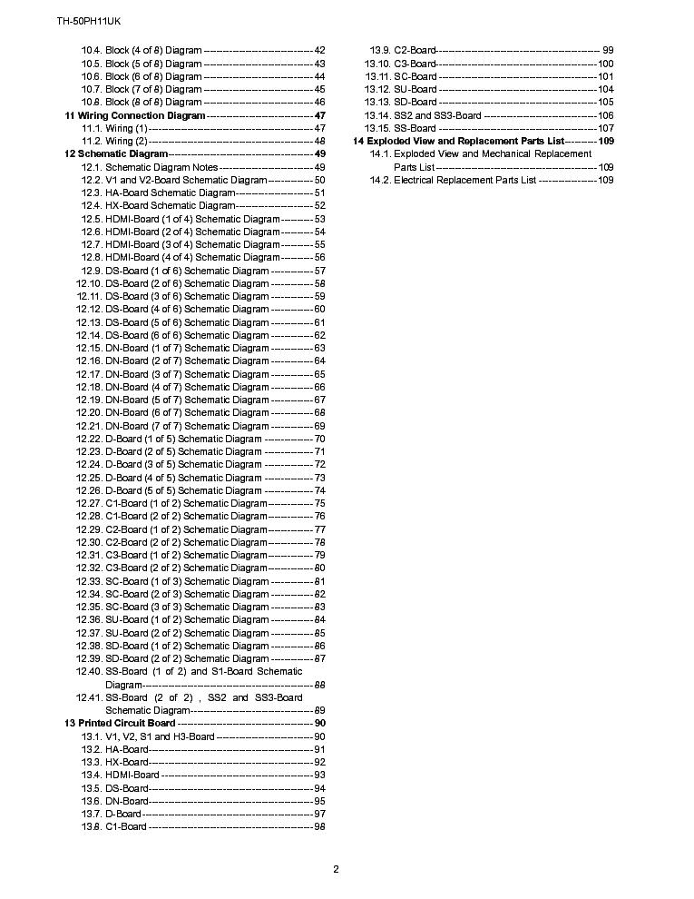 PANASONIC TH-50PH11UK GPH11D CHASSIS SM Service Manual