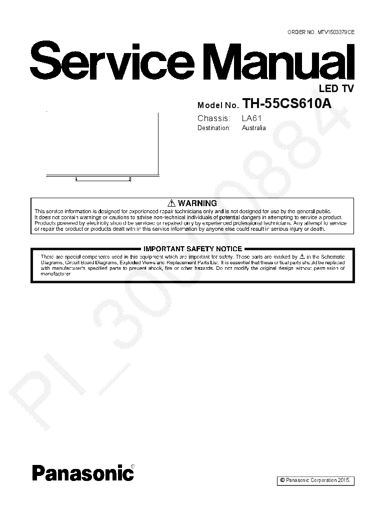 PANASONIC TH-55CS610A CHASSIS LA61 Service Manual download