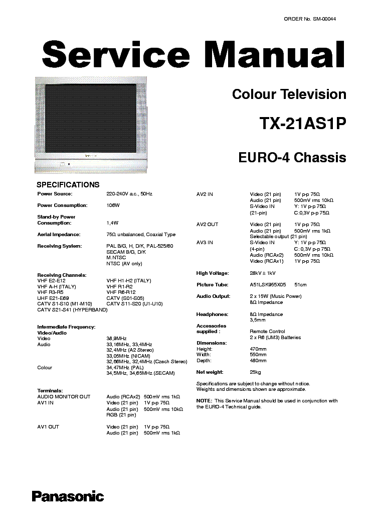 PANASONIC TX-21AS1P Service Manual download, schematics