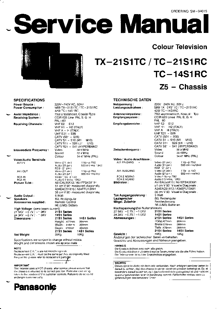 PANASONIC TX-21S1TC TC-21S1RC TC-14S1RC Service Manual