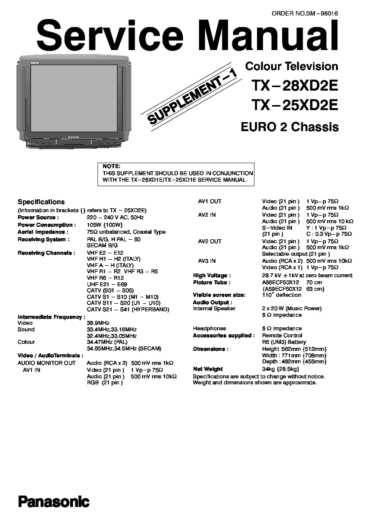 PANASONIC TX-25-28XD2E Service Manual download, schematics