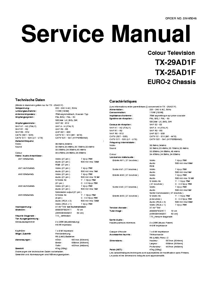 PANASONIC TX-25-29AD1F Service Manual download, schematics