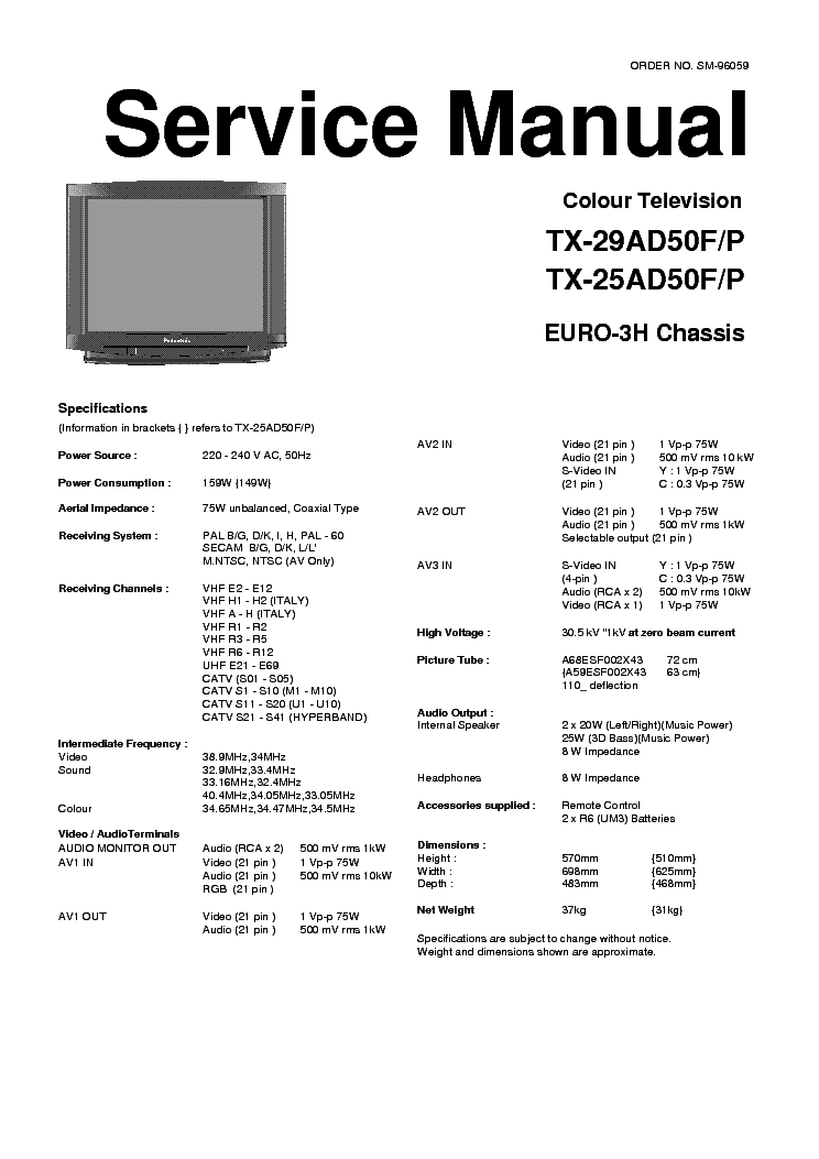 PANASONIC TX-25-29AD50FP Service Manual download