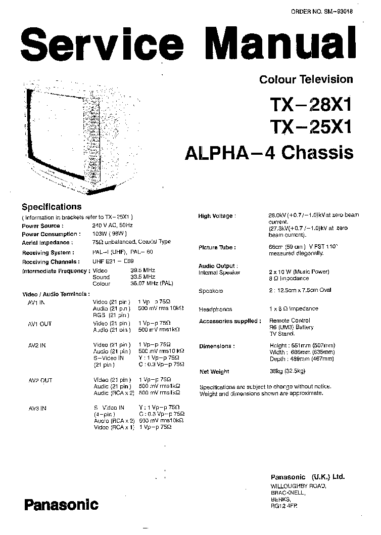 PANASONIC CHASSIS MX4 Service Manual download, schematics