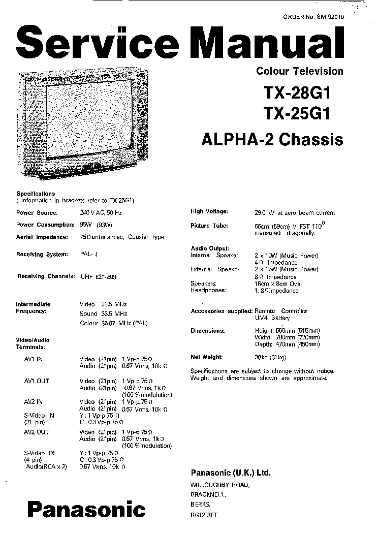 PANASONIC TC L42U12 Service Manual download, schematics