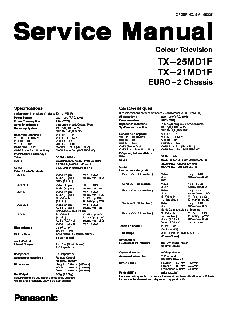 PANASONIC TX-25MD1F SM Service Manual download, schematics