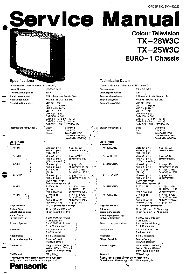 PANASONIC TX-25W3C 28W3C CHASSISS EURO-1 SM Service Manual