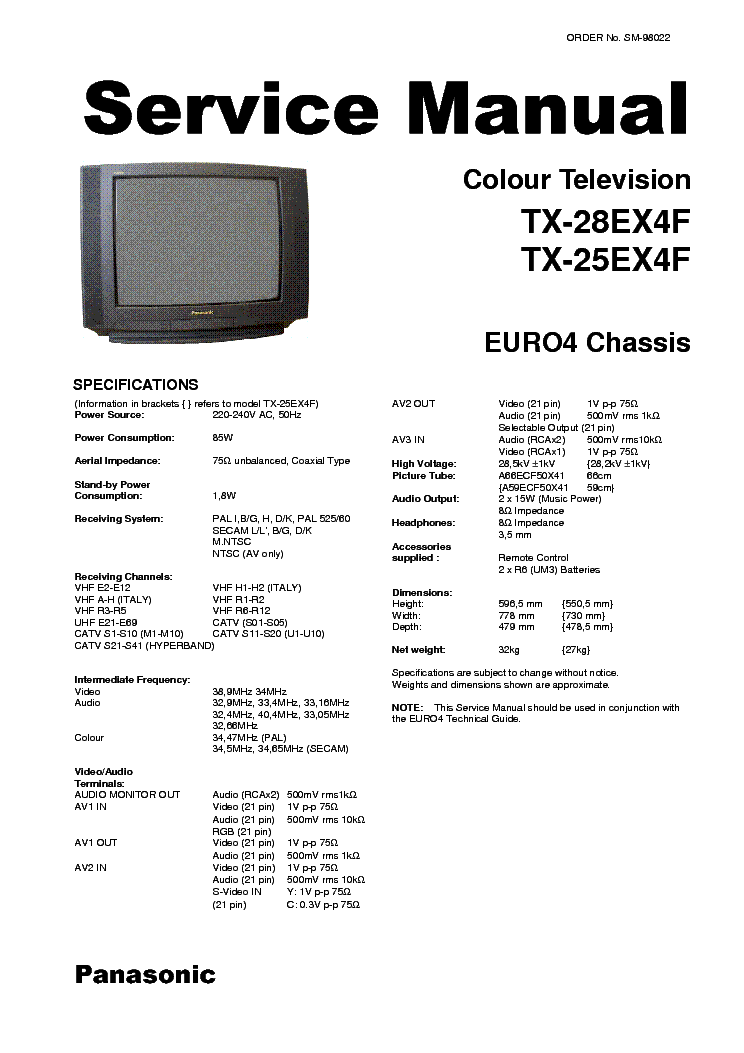 PANASONIC TC-21FX30L 29FX30L CHASSIS-GP41 Service Manual