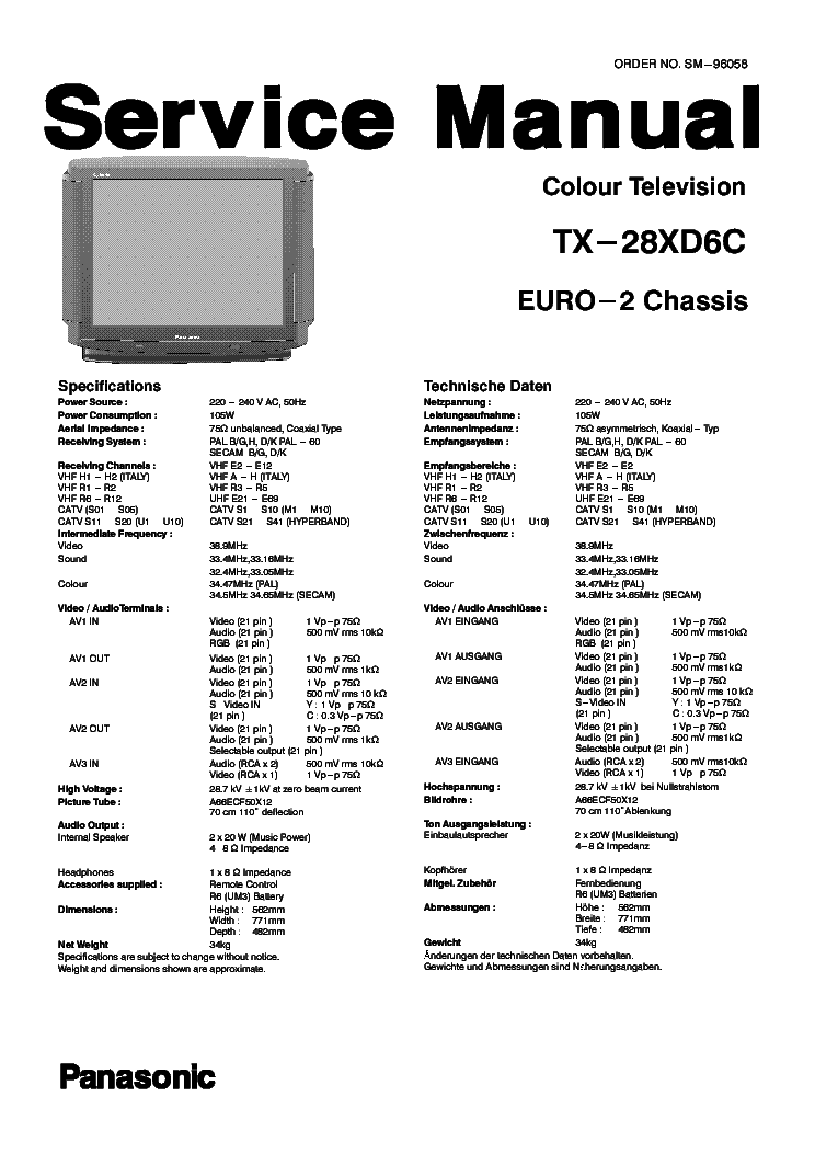 PANASONIC TX-28XD6C SCH Service Manual download