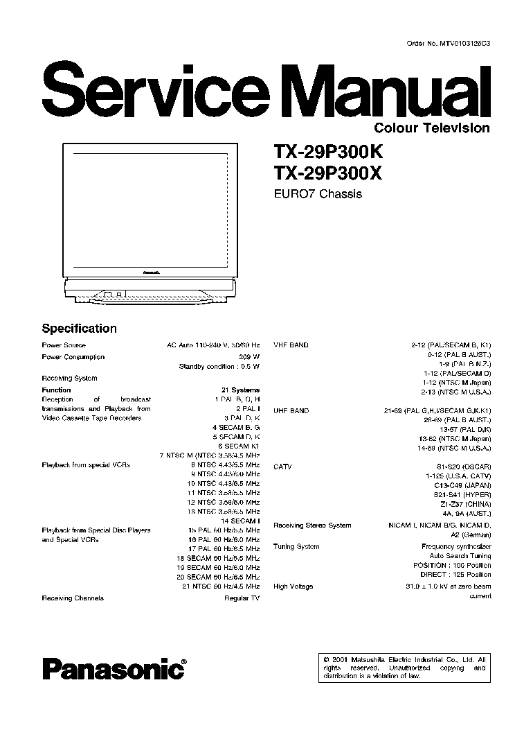 PANASONIC TX-29P300K X CH EURO7 Service Manual download