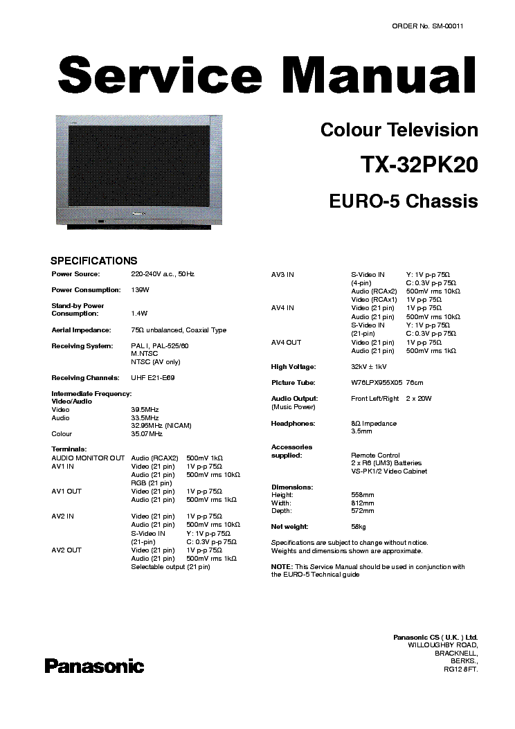 PANASONIC TX-32PK20 CH EURO5 Service Manual download
