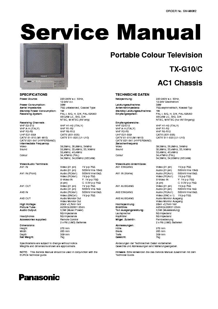 PANASONIC TX-G10C CHASSIS AC-1 SM Service Manual download
