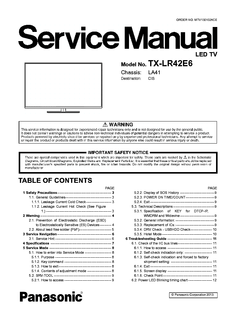 PANASONIC TX-LR42E6 CHASSIS LA41 Service Manual download