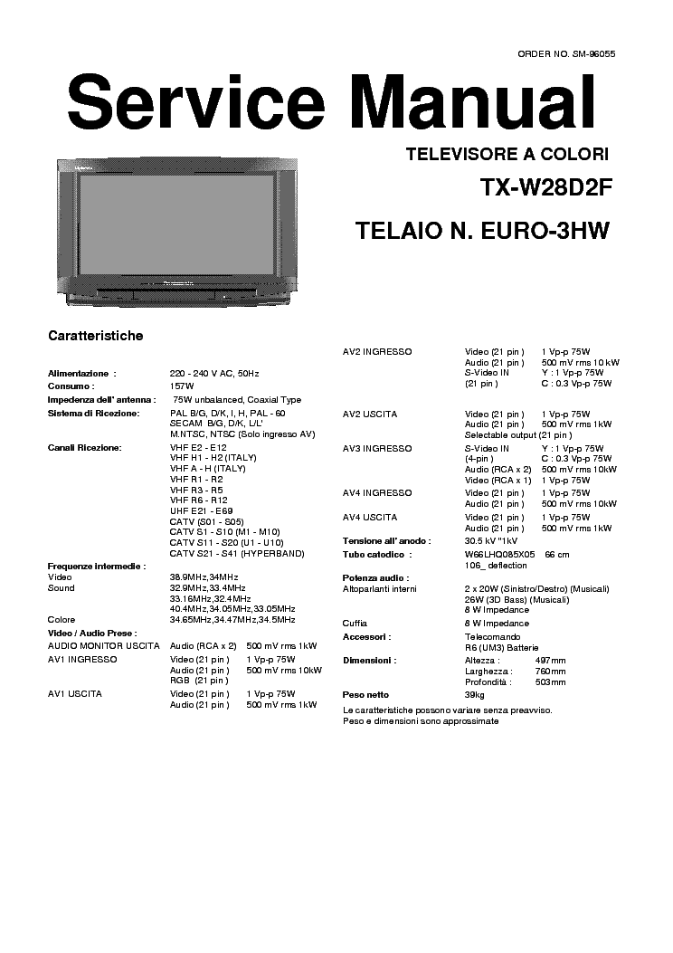 PANASONIC TX-W28D2F SM Service Manual download, schematics