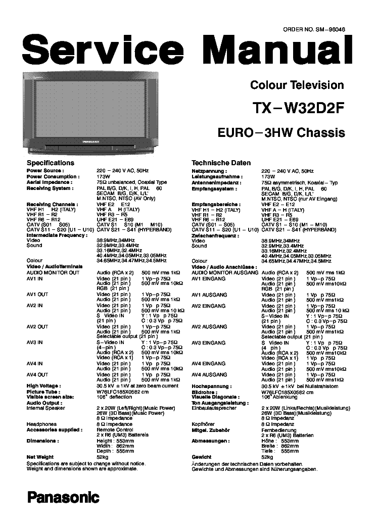 PANASONIC TX-W32D2F Service Manual download, schematics