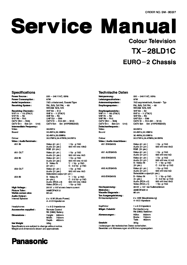 PANASONIC TX28LD1C EU2 Service Manual download, schematics