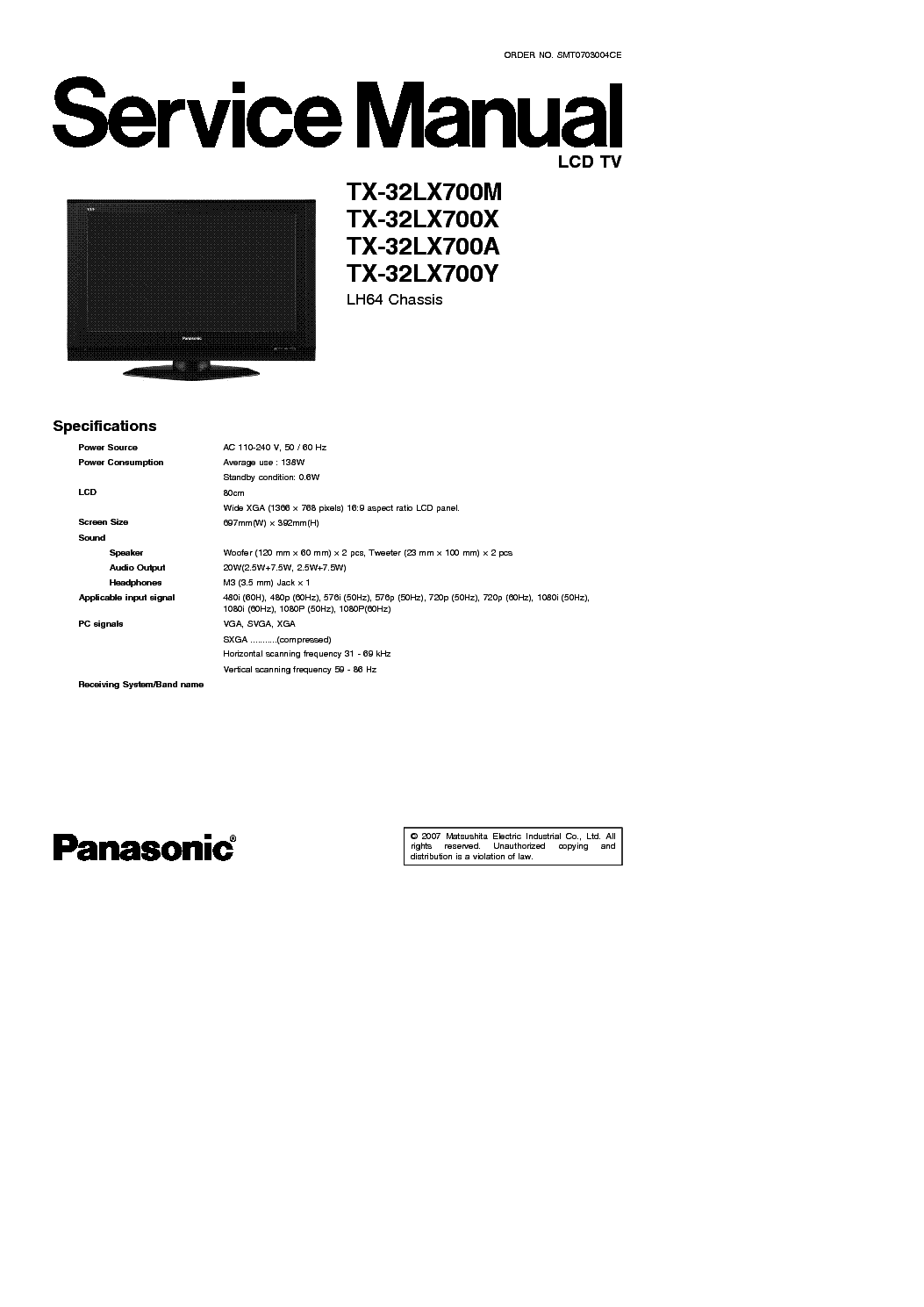 PANASONIC TX-21,25,28MD3 CH EURO-2M Service Manual free