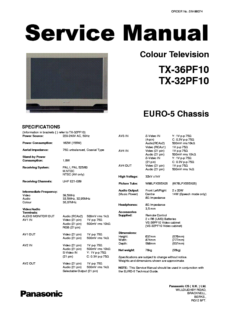 PANASONIC TX36PF10 TX32PF10 EU5 Service Manual download