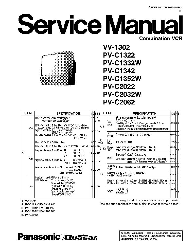 PANASONIC VV1302 TV VCR SM Service Manual download