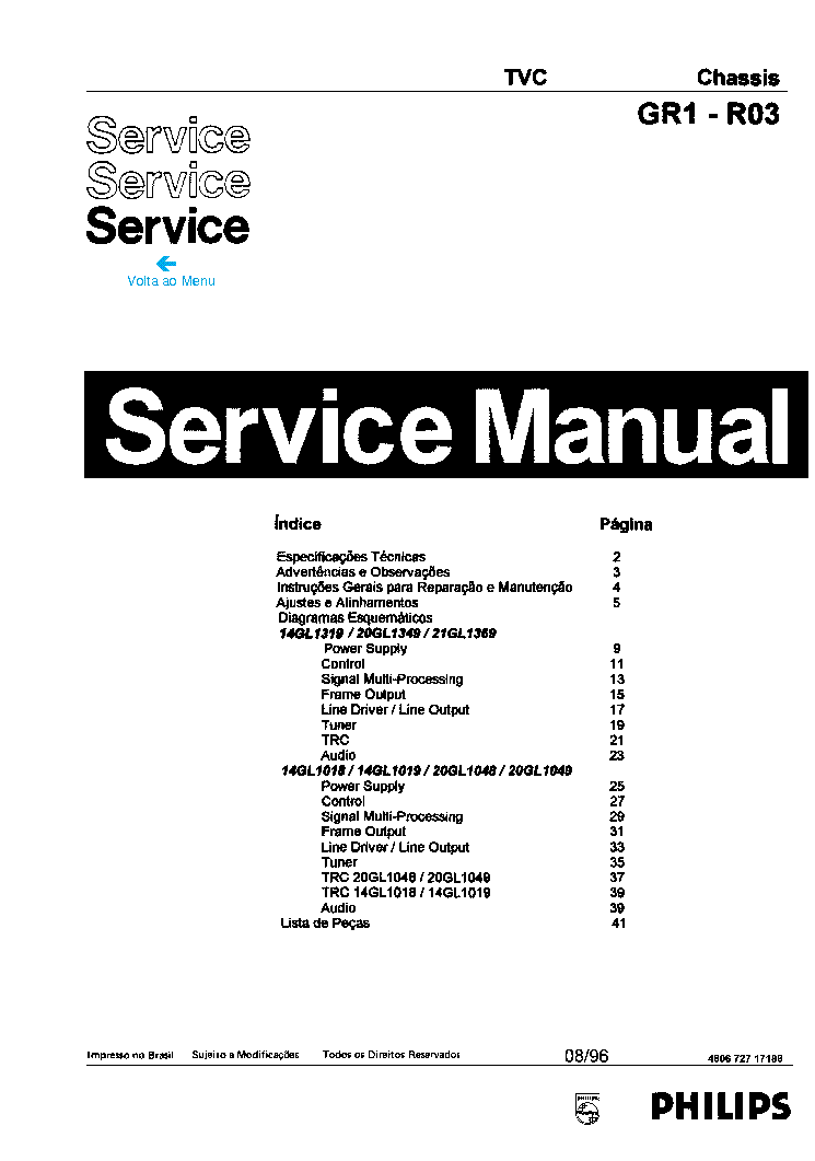 PHILIPS 15PF4110 CHASSIS LC4.1E AB SM Service Manual free