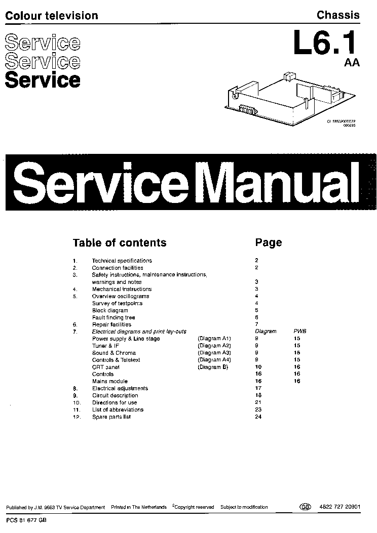 PHILIPS 14PT1552 01 CHASSIS L6 1 AA Service Manual